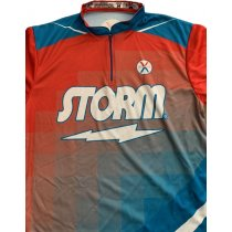 Storm Jersey - Fox-Grid - LtBlue-Orange - 1/4 Zip  - Men's Medium
